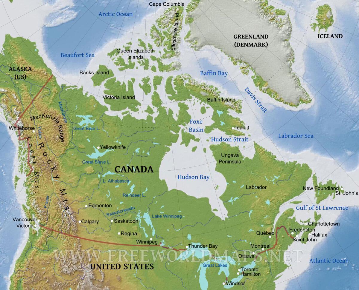 Cartina Fisica Del Nord America.Caratteristiche Fisiche Del Canada Mappa Canada Mappa Fisica Etichettati America Del Nord America