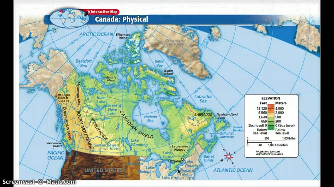 Canada Cartina Fisica.Fisico Regioni Del Canada Map Mappa Del Canada Regioni Fisiche America Del Nord America