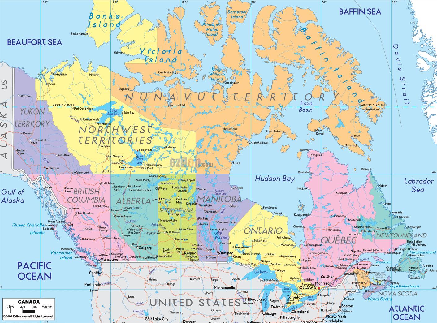 Cartina Canada Politica.Mappa Del Canada Orientale Cartina Mappa Del Canada
