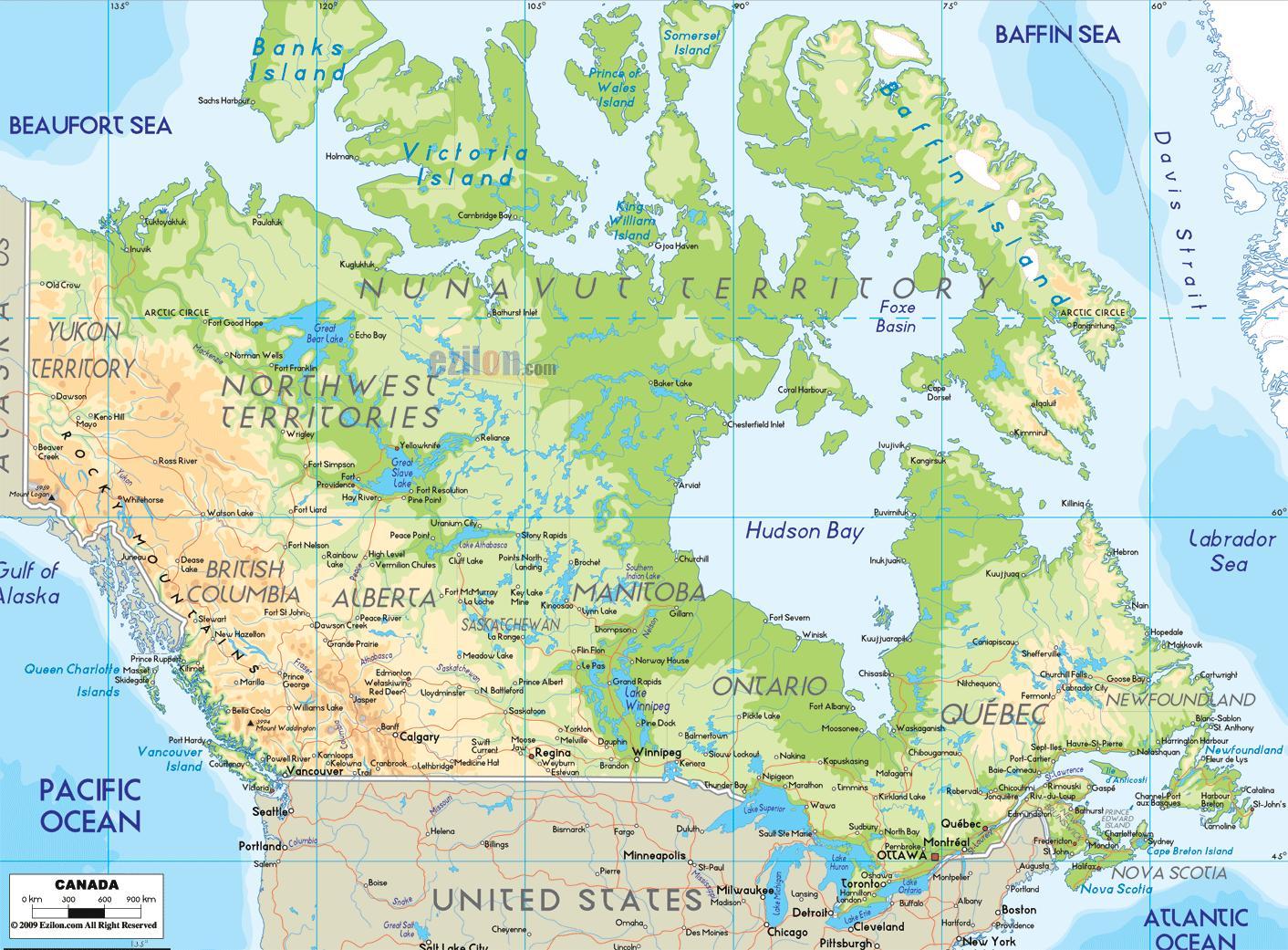 Canada Cartina Fisica.Mappa Fisica Del Canada Una Mappa Fisica Del Canada America Del Nord America