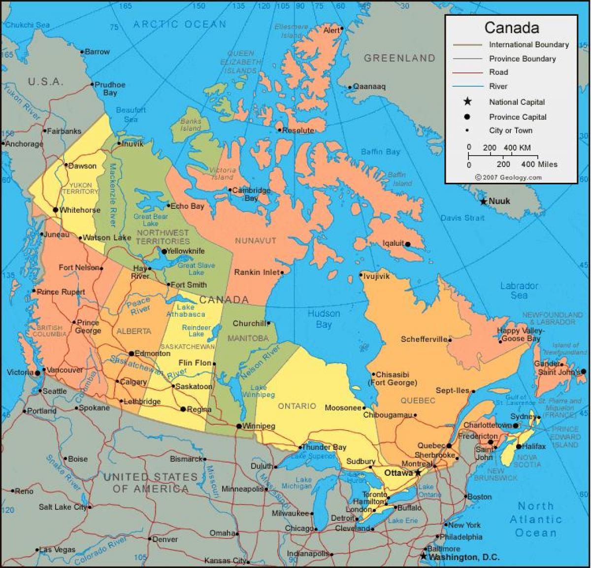 Canada Cartina Fisica.Canada Politico E Mappa Fisica Canada Fisico E Politico Mappa America Del Nord America